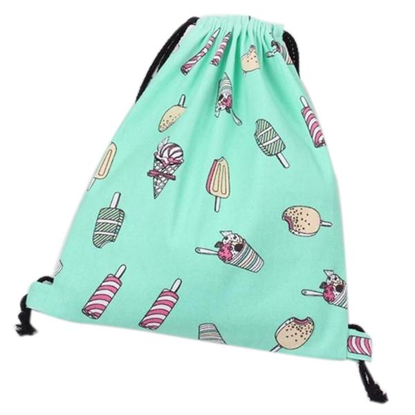 VSEN 2X Hot Paris Women Ice Cream Drawstring Beam Port Backpack Shopping Bag Travel Bag