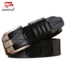 Buy DINISITON grid man belt cowhide genuine leather belts luxury strap male belt men new fashion vintage pin buckle designer for $11.38 in AliExpress store