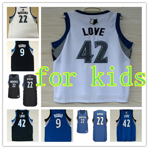 Free shipping children basketball jerseys #42 Timberwolves Love Basketball Jersey with Embroidery logos,size :s-xl(China (Mainland))