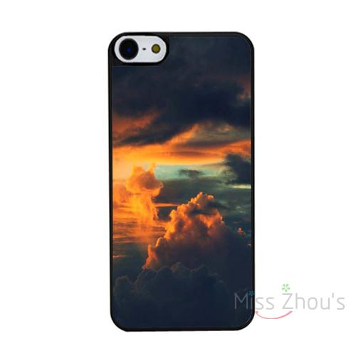 For iphone 4/4s 5/5s 5c SE 6/6s 7 plus ipod touch 4/5/6 back skins mobile cellphone cases cover Burning Orange Sunset Clouds(China (Mainland))