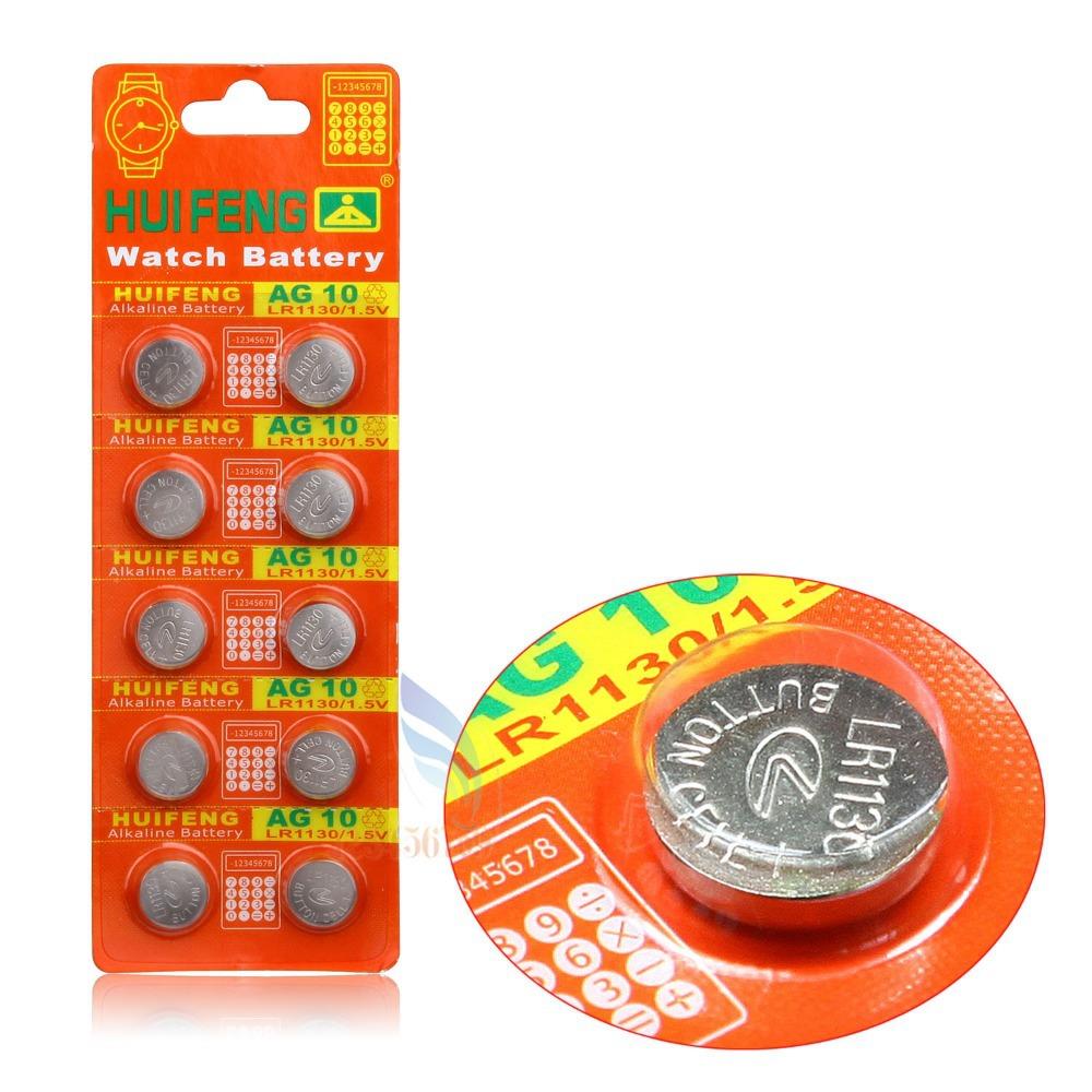 Free shipping Hot Selling 10pcs Cell Coin Battery AG10 LR1130 389 LR54 SR54 SR1130W 189 L1130