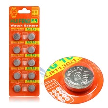 Free shipping Cell Coin Battery 10pcs/lot  AG10 LR1130 389 LR54 SR54 SR1130W 189 L1130