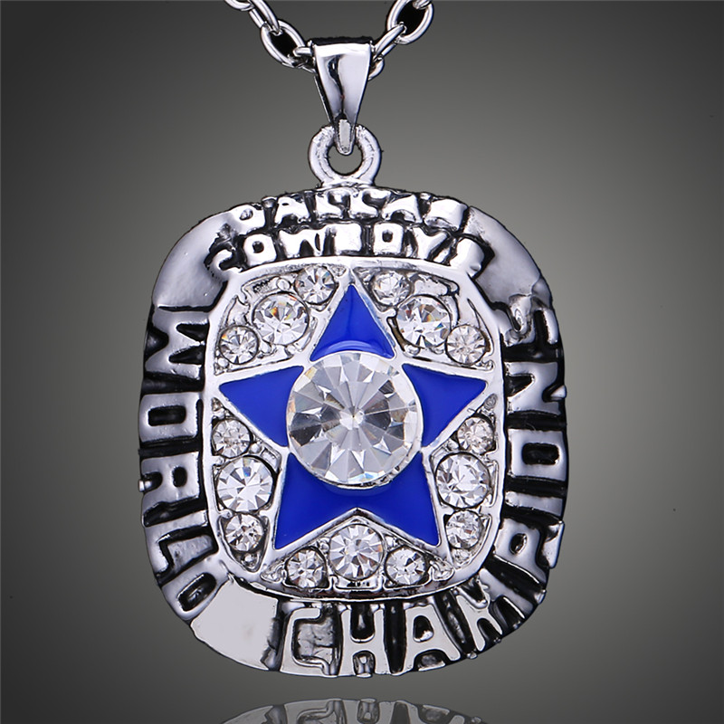 Vintage Pentagram Design American Football Sports Fans 1971 Dallas Cowboys Jersey Super Bowl Replica Pendant Necklace D00336(China (Mainland))