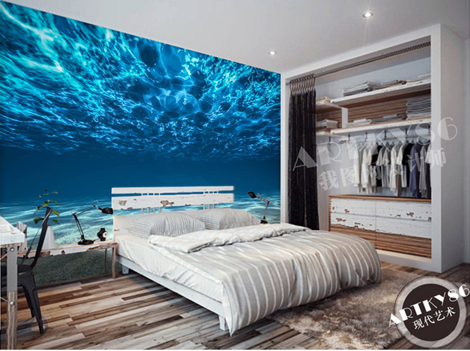 Mural wallpaper beautiful fantasy landscape of fresh blue for Bedroom 3d wallpaper
