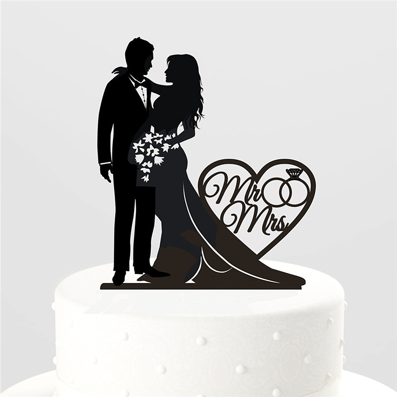 ring with mr and mrs silhouette wedding cake topper  unique Rated R Logo Rated PG Logo