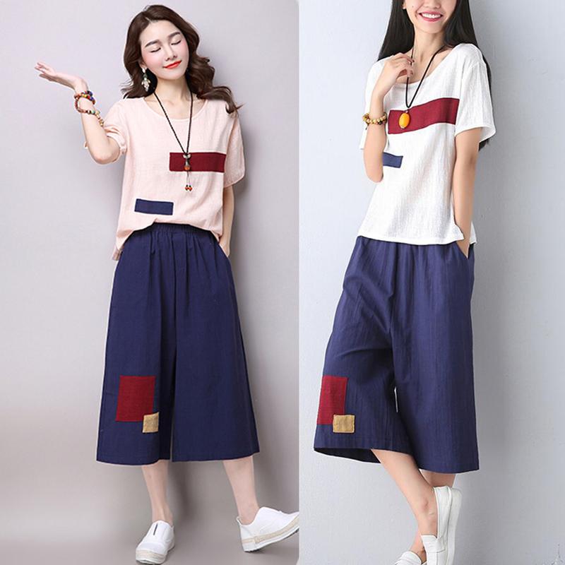 Women set Summer 2 Piece Set Plus Size Retro Women t shirt and Wide leg pants Elastic Waist Cotton Linen Two Piece Outfits YL45(China (Mainland))