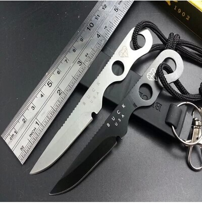 Free shipping 2pcs lot Buck outdoor 160mm small full stainless steel straight knife miniature sentinel knives(China (Mainland))