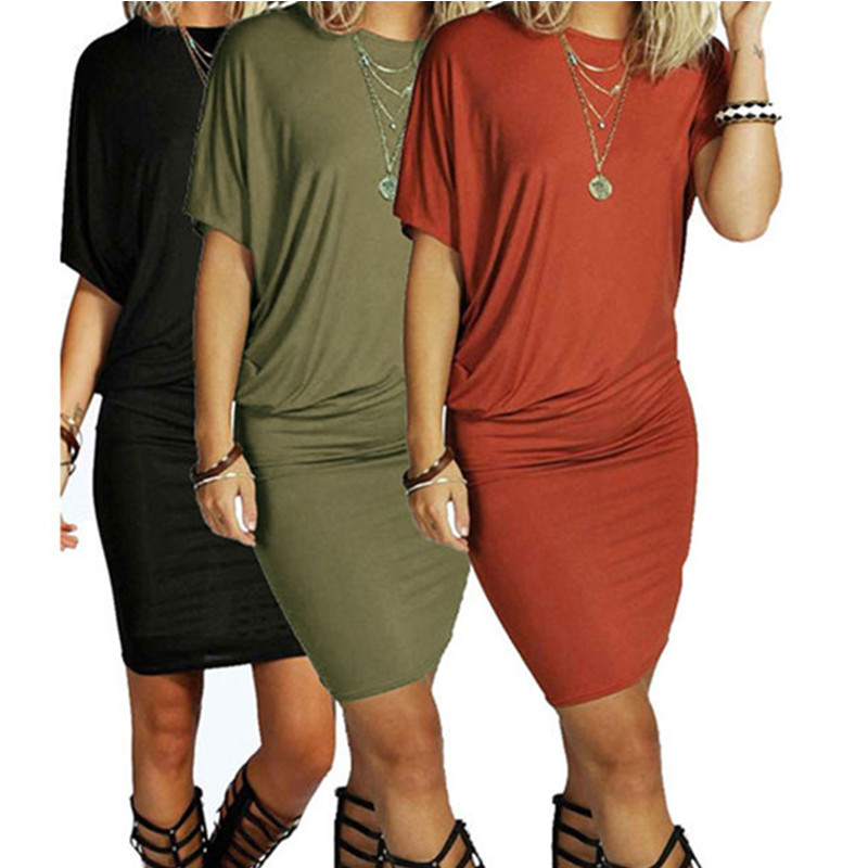 New Plus Size 2016 Summer Women Long T shirt Dress O neck Short Sleeve Solid Package Hip Mini Short Casual Dress Black ArmyGreen(China (Mainland))