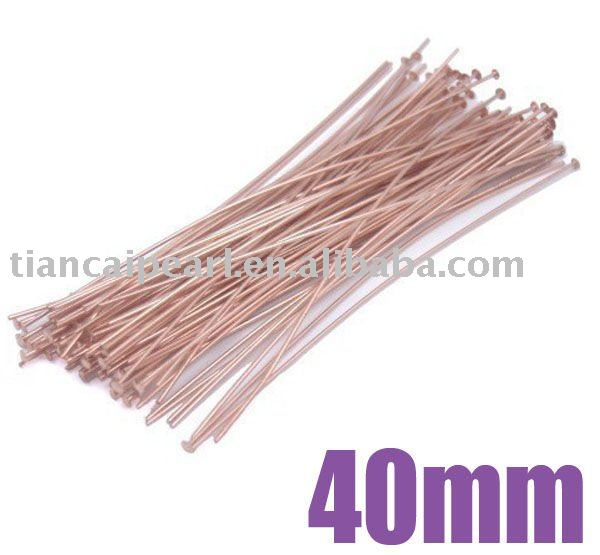 14K rose gold color 40mm Copper Base Head pin Jewelry Findings(China (Mainland))
