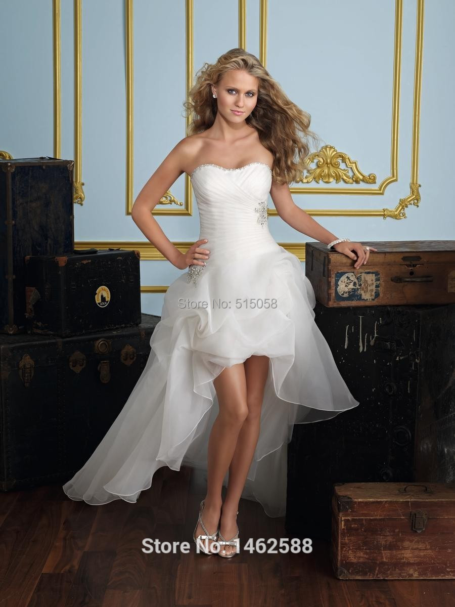 Pleated sweetheart organza layered high low wedding dress for Wedding dress high low