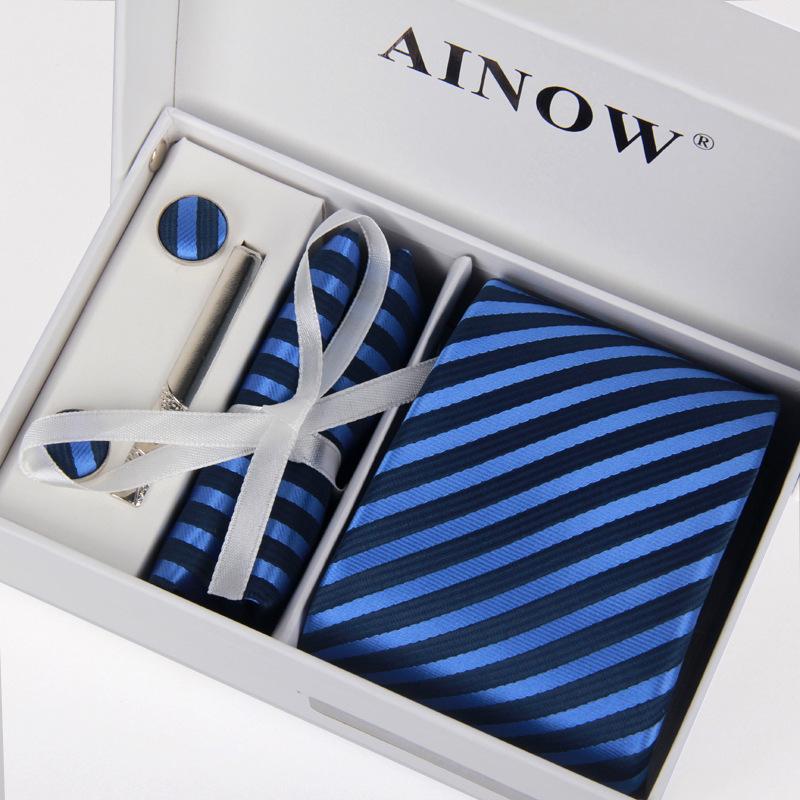 high quality mens 100% silk 8 cm necktie and cufflinks &amp; Tie clip + hankies with 4 sets gravatas jacquard Wedding lot yes boxОдежда и ак�е��уары<br><br><br>Aliexpress