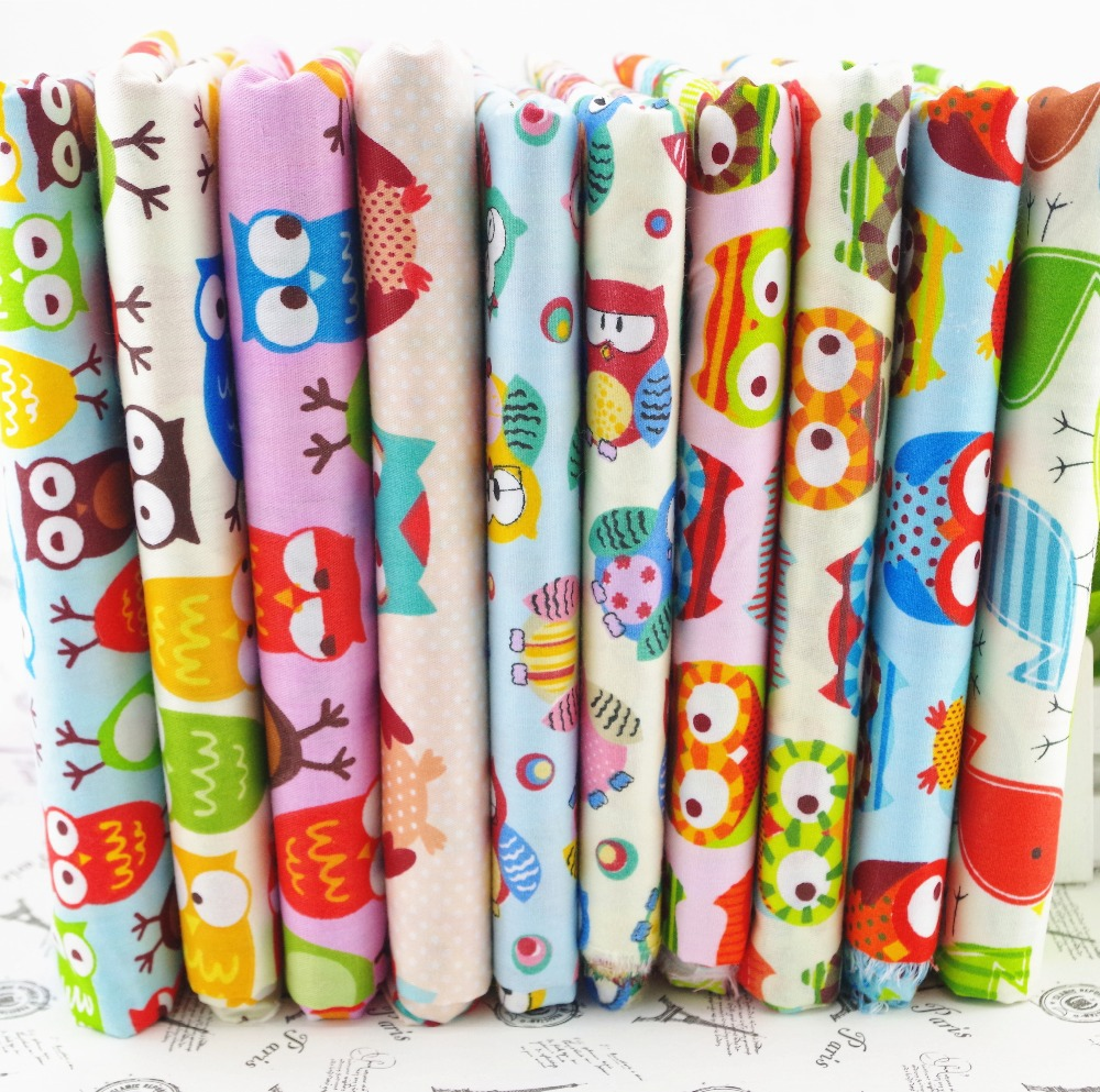 50CM*50CM 10 assorted Owl Bird printed cotton fabric textile patchwork for sewing quilting cotton shabby chic Fat quarter(China (Mainland))