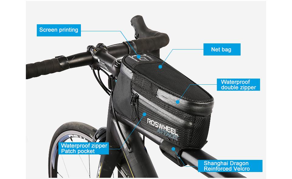 ROSWHEEL ATTACK Series Waterproof Bag Top Front Frame Tube Triangle Bag WA Ne