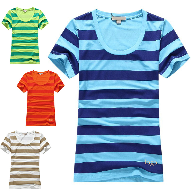 2015 summer new dresses short sleeved T-shirt B big standard embroidery wide horizontal stripes female soft cotton material(China (Mainland))