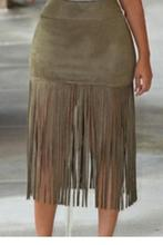 Fashion New Women Vintage High Waist Elegant Skirt Casual Nude/Olive Faux Suede Fringe Skirt With Tassel LC71187 Black Friday