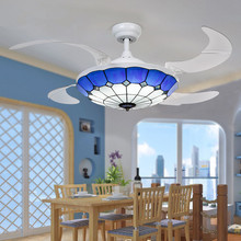 Mediterranean Style 42 Inch LED 32W Tiffany Chandelier With Remote Control Living Room Bedroom Decoration Fan Droplight(China (Mainland))