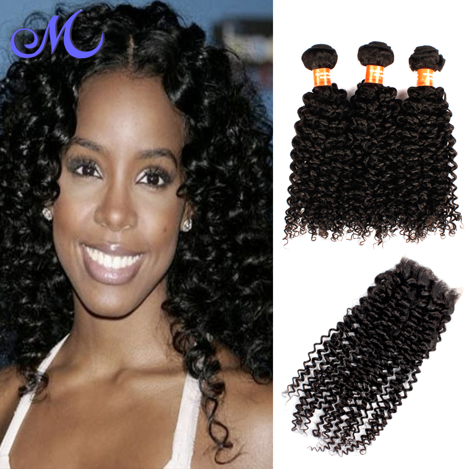 7A Brazilian Curly Virgin Hair With Closure 3 Bundles With Closure Brazilian Virgin Hair With Closure HC Human Hair With Closure