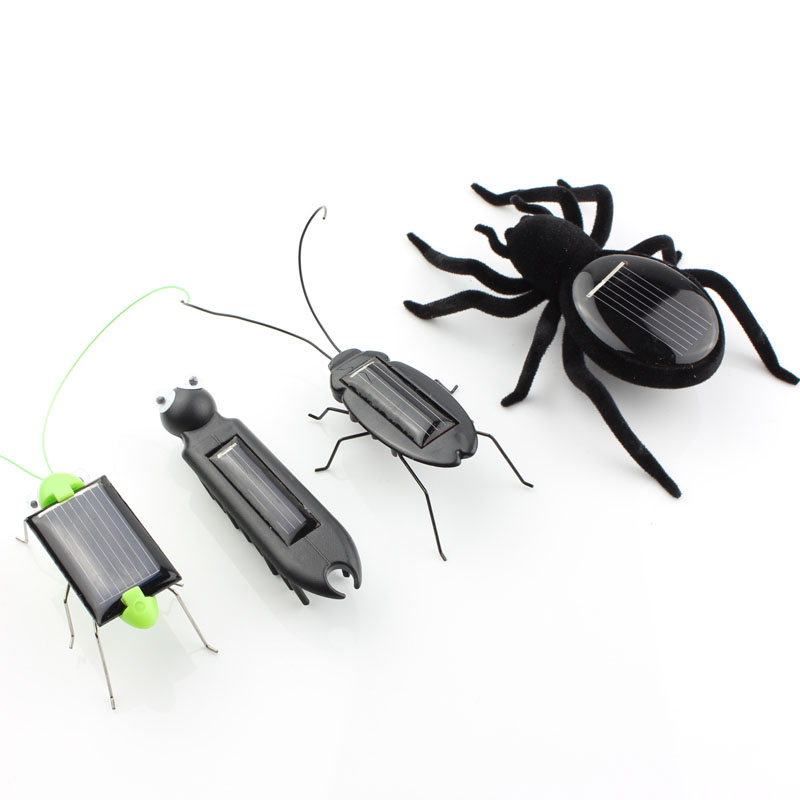 4pcs mini kit Novelty kid Solar Energy Powered Spider cockroach Power Robot Bug Grasshopper educational gadget Toy for children(China (Mainland))