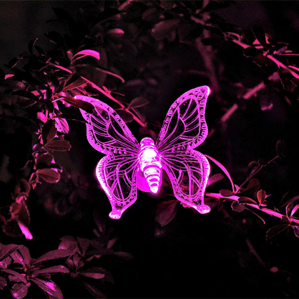 7 Color LED Solar Light Lamp Cute Shape Butterfly Dragonfly Bird Design Garden Lawn Landscape Ornament Party Decoration(China (Mainland))