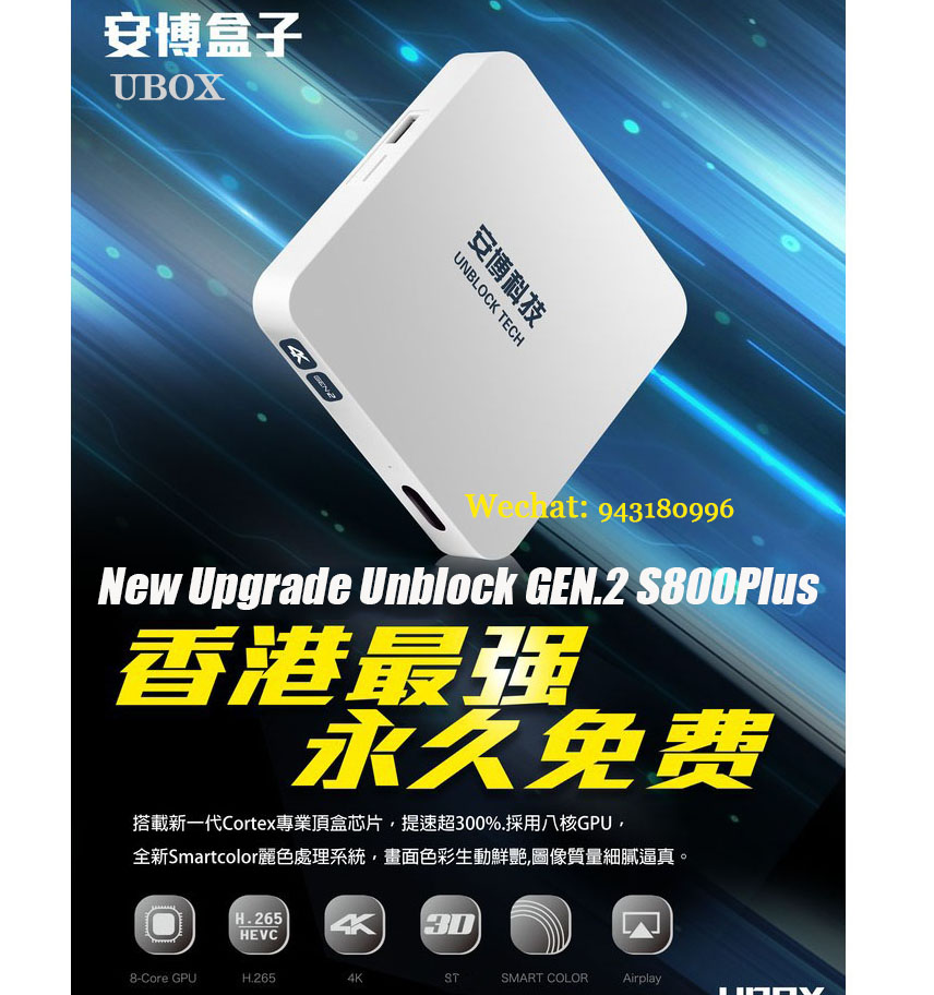 Latest Upgrade Unblock II GEN.2 S800 Plus oversea version Four Core Android 4.4 Multi-channel Wireless HD 1GB DDR3 IPTV STB Box(China (Mainland))