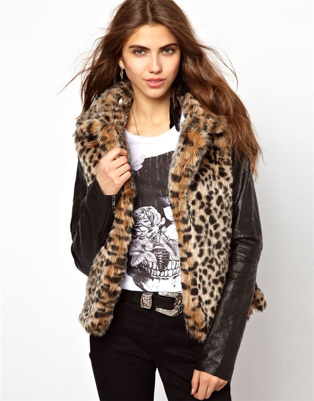 Free Shipping 2015 new arrive women Personalized Leopard stitching leather sleeves Faux Fur jacket outerwear coats #P0503(China (Mainland))