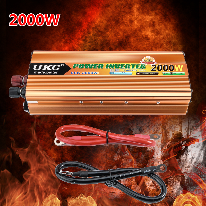 Car inverter 2000W Transverter Auto Modified Sine Wave Power Charger DC 12V to AC 220v Converter USB Cook Meals YA177-SZ(China (Mainland))