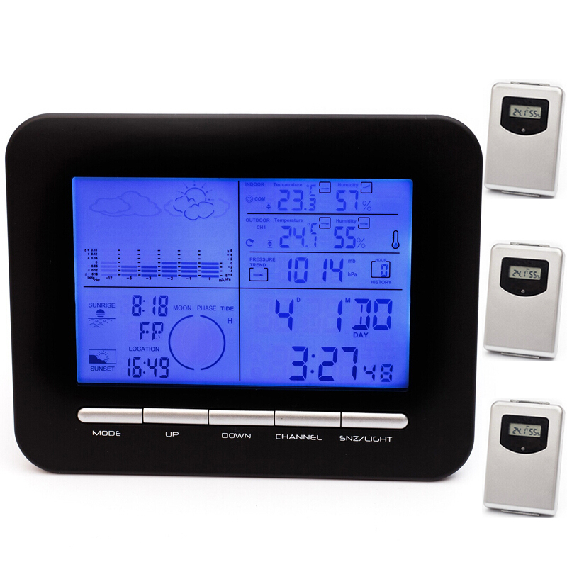 Weather Station Digital Barometer Clock With Thermometer Hygrometer Wireless Indoor Outdoor Humidity Temperature Gauge&Alarm(China (Mainland))