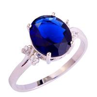 Wholesale Unisex Fashion Jewelry Sapphire Quartz White Topaz 925 Silver Ring Size 6 7 8 9 10 11 12 For Women Party Free Shipping