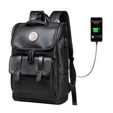 Homens Mochila LIELANG Carga USB Externo Mochila Moda PU de Couro À Prova D' Água Saco de Viagem Ocasional Saco de Escola mochila de couro(China)