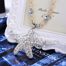 square crystal pendant Double star necklace women fashion jewelry Silver casual wear sweater long chain - h&y Jewelry store