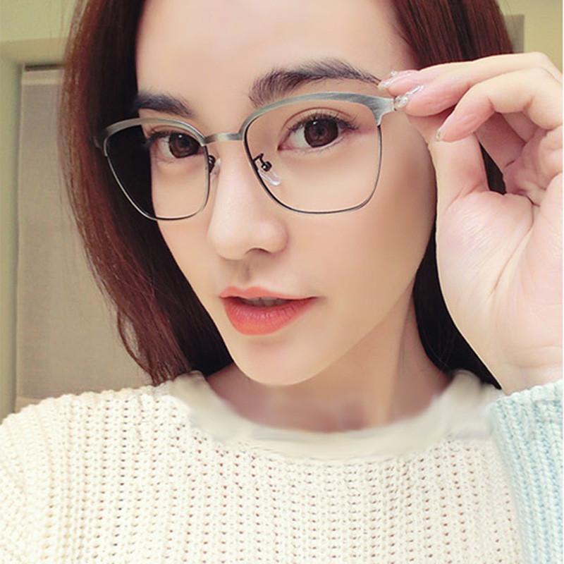 fashion women metal eyeglasses framce retro clear lens glasses frame men vintage myopia eyeglasses prescript anti
