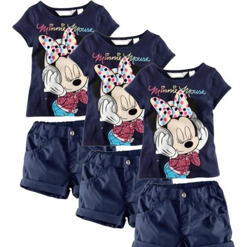 Baby Kids Girls Summer Clothing Minnie Mouse Tops T-Shirts + Shorts Outfits 1-6Y(China (Mainland))
