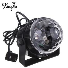 Kingso Mini RGB LED Crystal Magic Ball Stage Effect Lighting Lamp Party Disco Club DJ Bar Light Show 100-240V US Plug(China (Mainland))