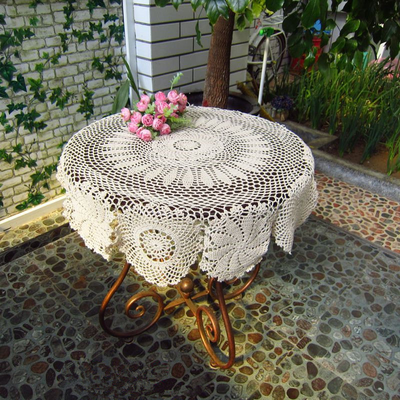 Vintage handmade white crochet tablecloth round table topper coffee tea table cloth cover/toalha de mesa(China (Mainland))
