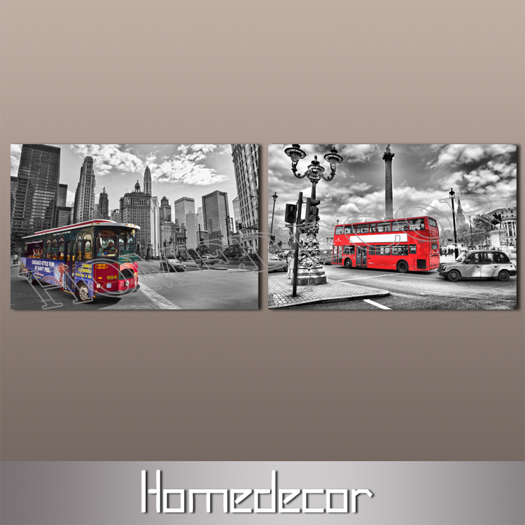 2pcs large London England Bus canvas printing Picture city street building canvas painting prints canvas living room oil art set(China (Mainland))