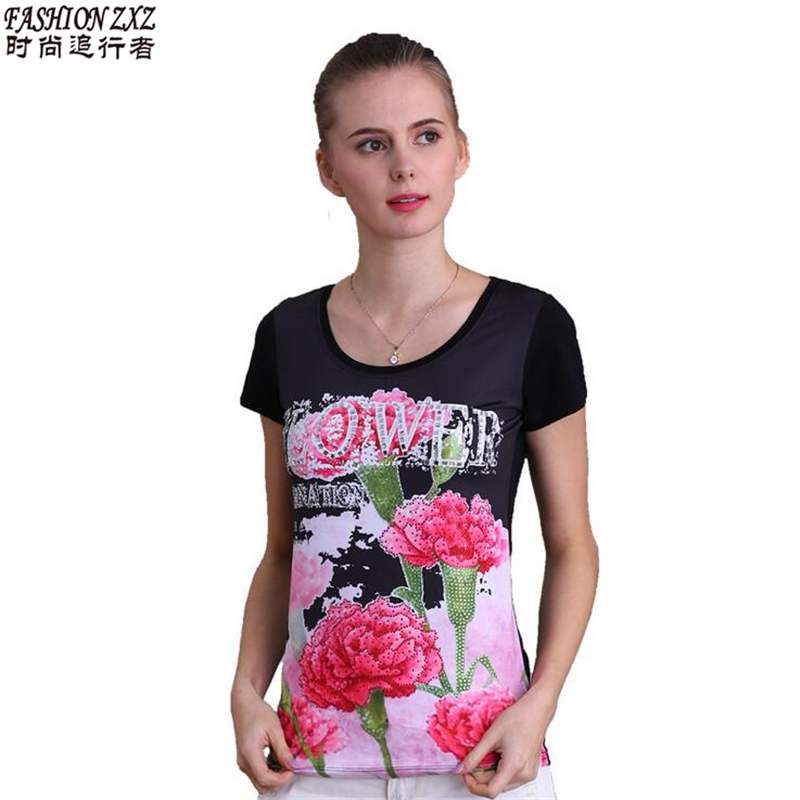 Women T Shirt 2016 Summer Style T-shirt Female high-grade printing hot drilling Harajuku O-neck t shrit Plus Size S-3XL(China (Mainland))