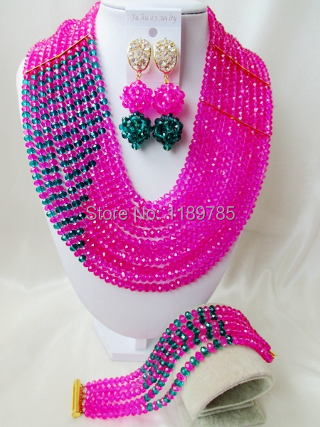 Free Shipping  African Wedding Jewelry Set Costume Nigerian   Crystal Beads Jewelry Set Wholesale NEW A-9706<br><br>Aliexpress