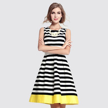 2015 New Spring Summer Casual Dress Stylish Women's Ladies Evening Party Sleeveless Dresses Stripe Dress(China (Mainland))