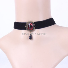 Gothic Vampire Black Velvet Ruby Clavicle Chain Choker Necklace Lolita Lady Summer Style