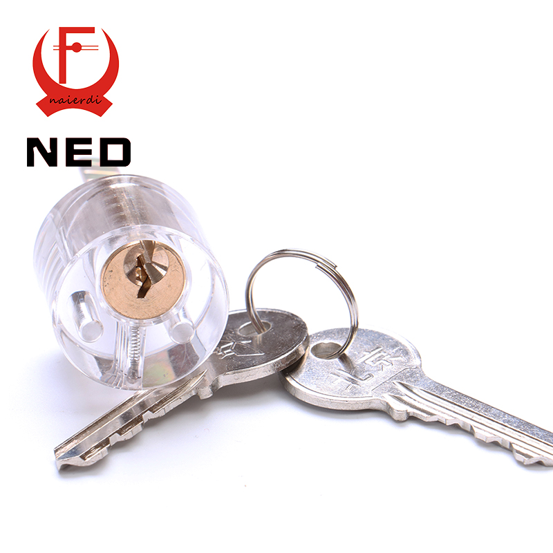 NED Cutaway T-Lock Transparent Lock Training Skill Professional Visable Practice Padlocks Lock Pick For Locksmith With Two Keys(China (Mainland))