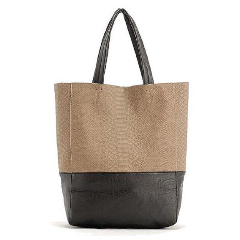 2016 Fashion Causal Stitching Snake Pattern Bucket Women Big Bag, Women Retro Fahion Handbag High Quality Shoulder Bolsas(China (Mainland))