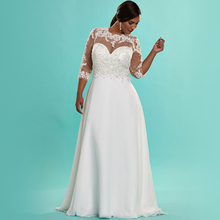 Elegant White Chiffon Plus Size Wedding Dress Empire 3/4 Sleeve Beaded Appliques Lace Women Wedding Dress Plus Size 2016 PS15(China (Mainland))