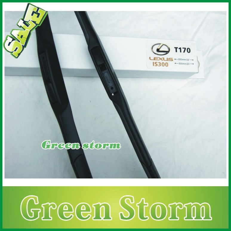(2pcs/Pair) car wiper blades(windscreen wiper) Lexus IS300 soft silicone Rubber WindShield Wiper Blade - Green Storm Automobile Products co., LTD store