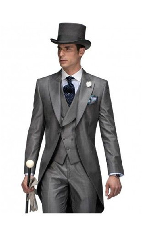 5 Piece Set Stylish Custom Tailored Grey Wedding Suits