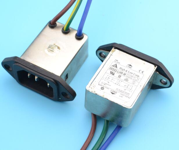 panel mounting 3 pins ac socket 8A EMI filter 115/250VAC 8A 50/60Hz High & Low Corp. EMI power filter Connector(China (Mainland))