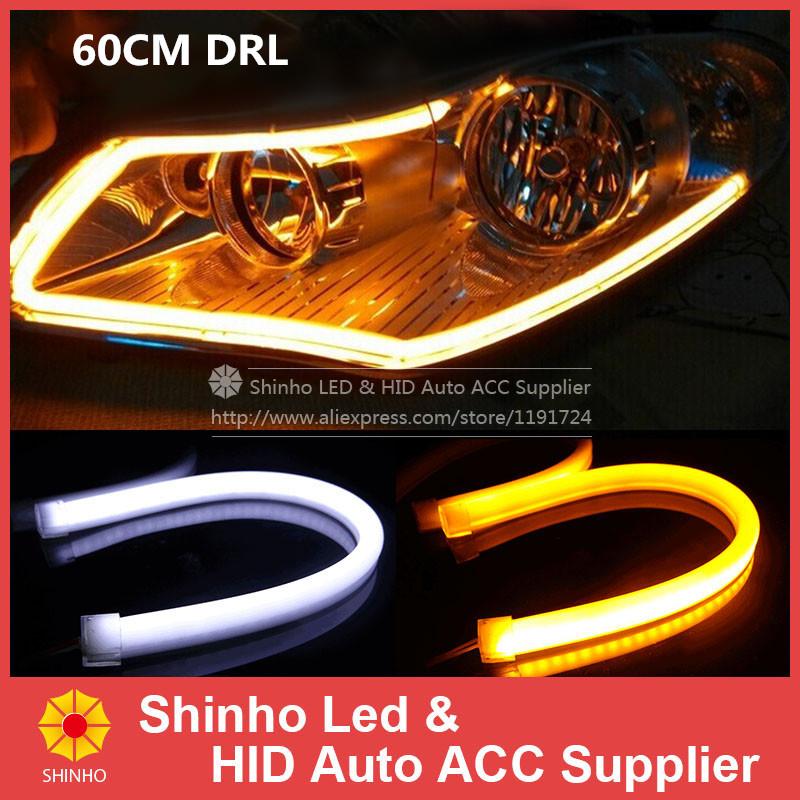2Pcs/Lot 60cm 12W White+Yellow Flexible Headlight Daytime Lamp Switchback Strip Angel Eye DRL Decorative Light With Turn Signal(China (Mainland))