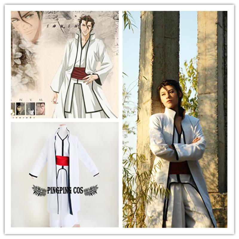 Bleach Cosplay Aizen Sousuke  Cosplay Costume  Robe Cloak - White M L XL XXL(Free Shipping)