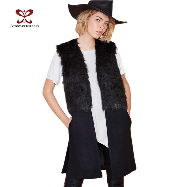 Женщины Winter Жилет Jackets Faux Мех Шерстьen Stitching Черный Модный Повседневный ...