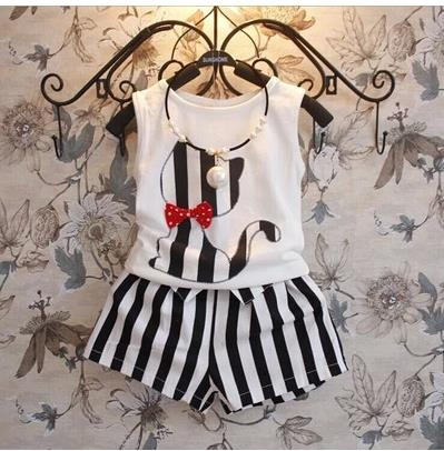 new 2015 summer girls clothing sets bow stripe cat Vest + fashion casual striped shorts pants suits kids clothes