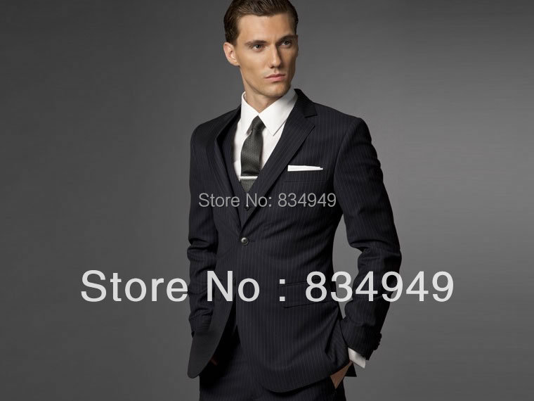 Groom Suit Wedding Suits For Men 2016 Mens Striped Suit Wedding Groom Tuxedo,Tailored 3 Piece Suit Black Wedding Tuxedos For Men(China (Mainland))